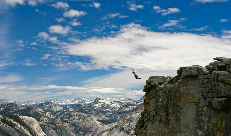горы, tech, high, парень, landscape, другие, прыжок, человек, macro, ситуации,