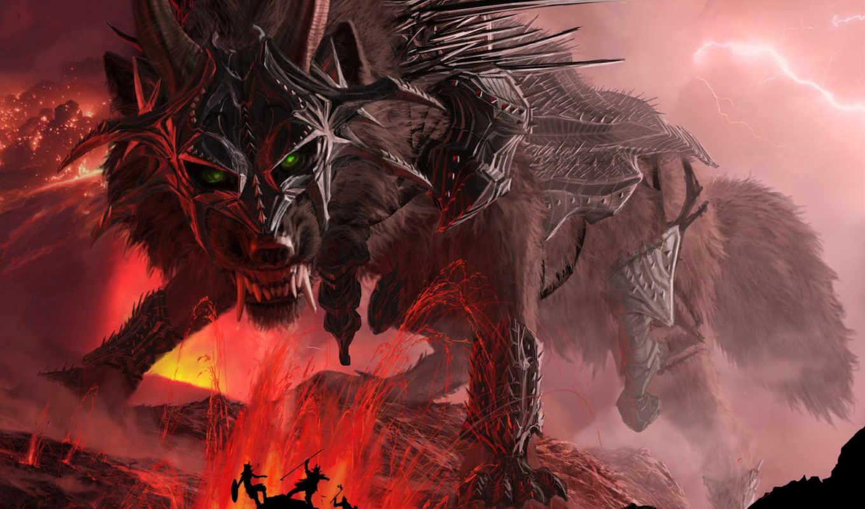 fenrir, горы, волк, giant, loki, рога, download, клыки, доспехи, пасть, вырос, лава, which, его,