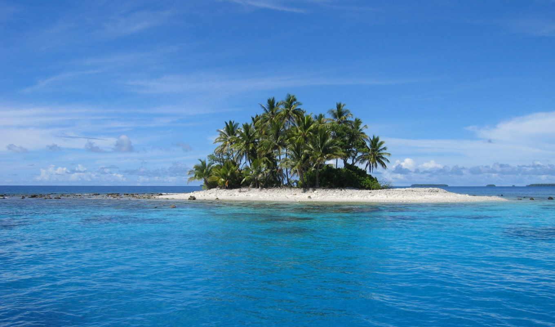 остров, необитаемый, priroda, острова, пальмы, океан, more, пейзаж,
