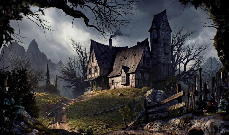 старый, house, halloween, дорога, trees, mountains,