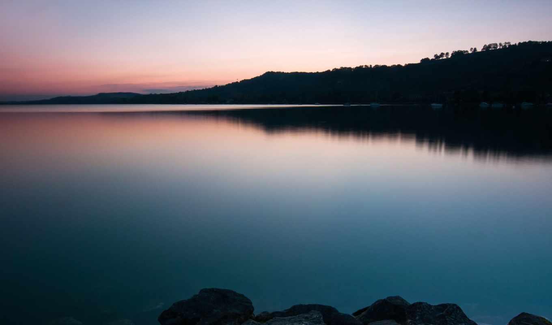 озеро, берег, water, камни, swiss, закат, небо,