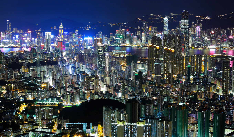 hong, kong, ночь, город, свет, china, азия, огни, вечер,