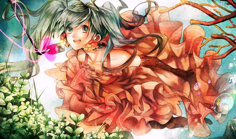 hatsune, miku, vocaloid, девушка, парень, платье, art, anime,