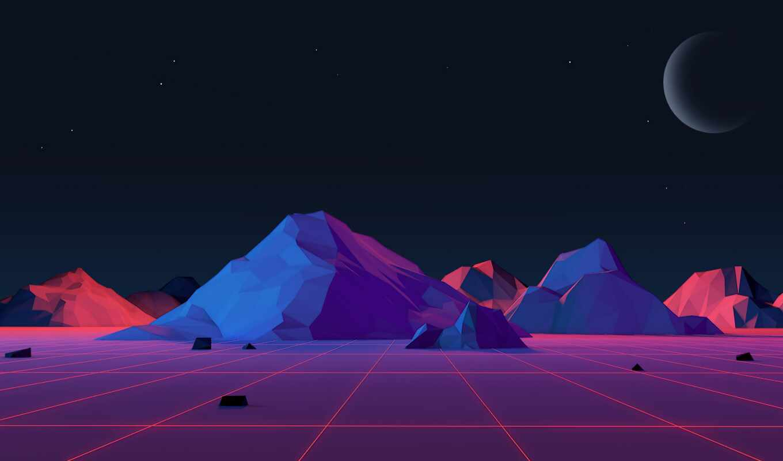 гора, neon, музыка, landscape, ночь, poly, sun, star, low