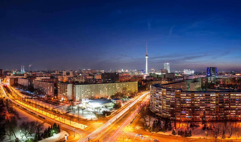 berlin, deutschland, германия, огни, город, столица, ночь, дорога, телебашня, здания, панорама, дома, выдержка, машины,
