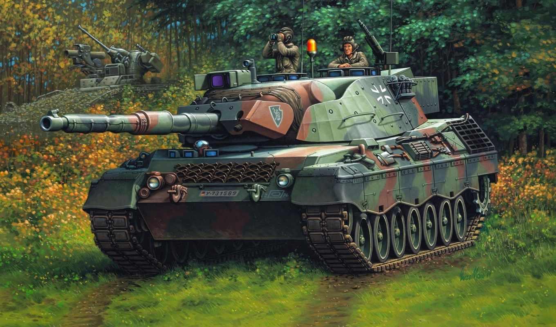 танк, рисунок, бундесвер, леопард, германия