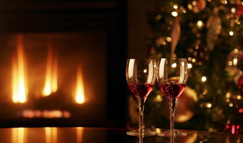 праздник, огонь, камин, уют, бокалы, елка, год, новый, romantic,