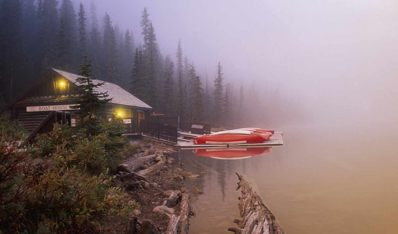desktop, lake, background, canada, louise, foggy, boat,