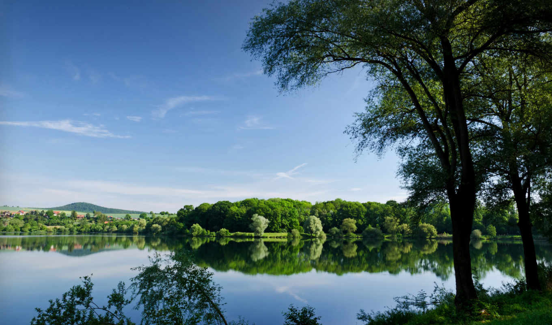 деревя, река, summer, отражение, озеро, reservoir, природа,