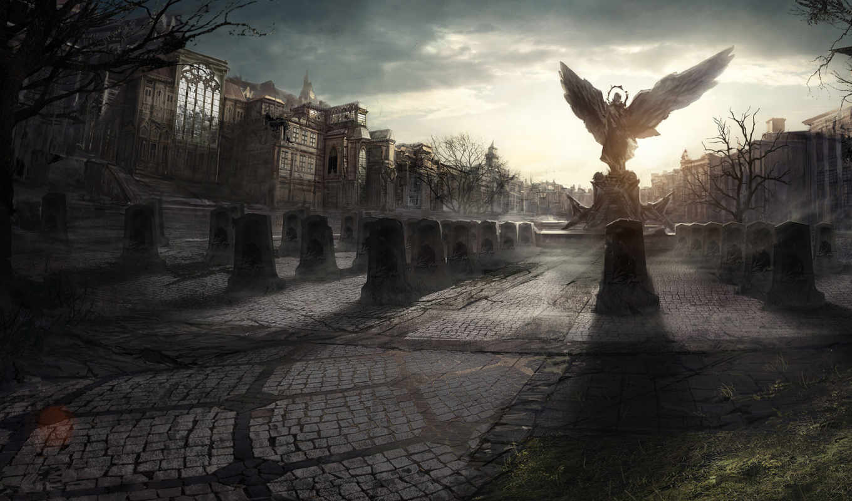angel, город, статуя, крылья, площадь, angels,