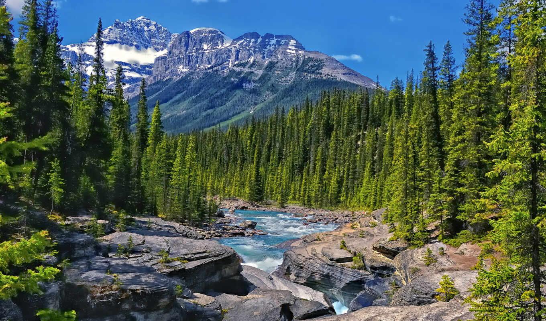 горы, река,