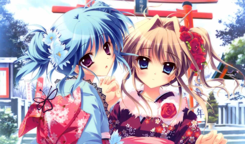 девушки, аниме, юкаты, взгляд, заколки, картинка, symphony, mashiroiro, картинку, волосы, blue,