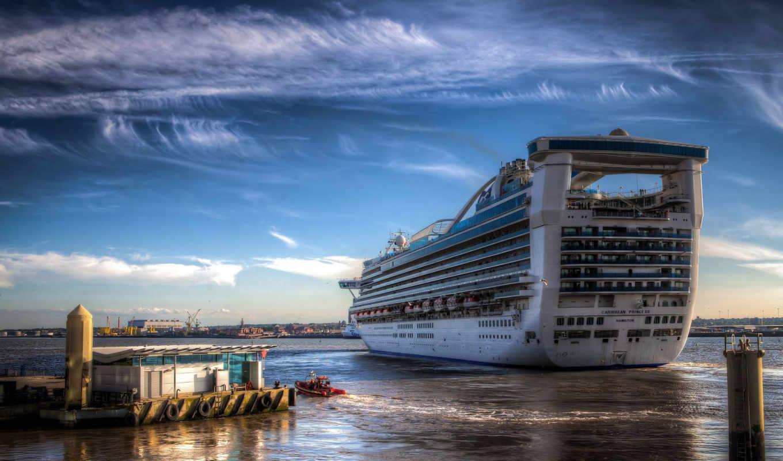 порт, море, пейзаж, лайнер, пирс, причал, корабль, город, горизонт, небо, океан, облака, другая,