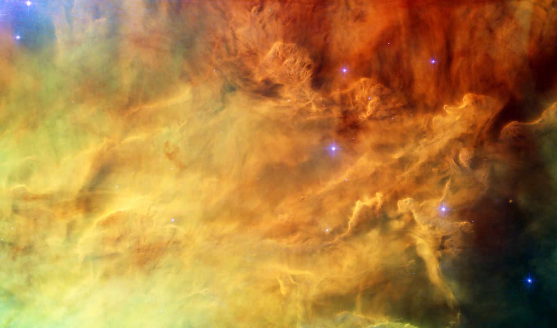 ,туманность, звезды, желтый,красный,