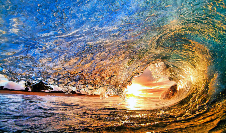 море, волна, природа, закат, ocean,