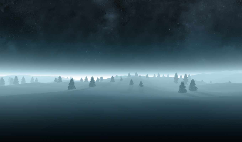 звездное, небо, елочки, елки, ночь, дерево,