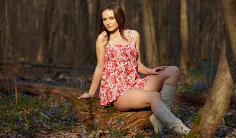 платье, ножки, весна, подснежники, девушка,
