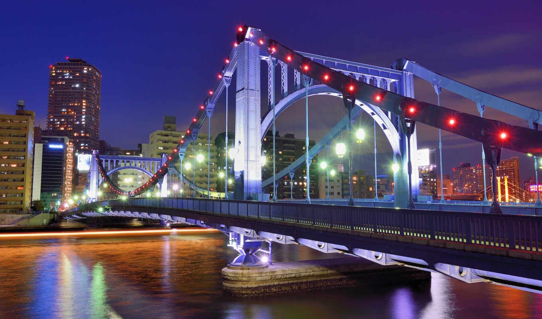 tokio, japanese, tokyo, столица, мегаполис, мост, широкоформатные, япония,