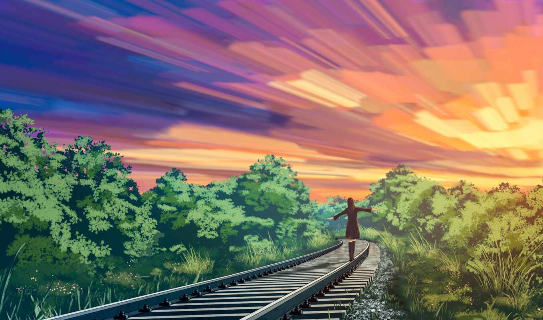 fond, anime, coucher, soleil, anim, chemin, фер, девушка, rail, sur, дорогой