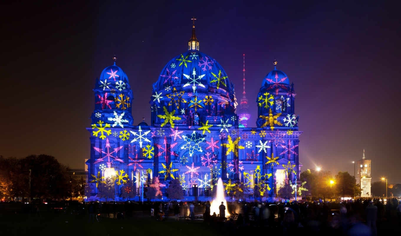 berlin, cathedral, during, festival, lights, hội, dom, sang, widescreen, fullscreen, света,