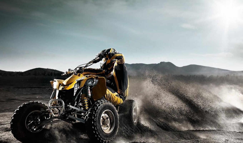 квадроцикл, песок, atv, езда, motorcycles, квадроцикле, занос,