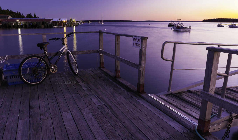 велосипед, причал, пирс, бухты, закат,
