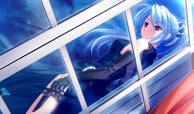 anime, девушка, волосы, фиолетовые, глаза,