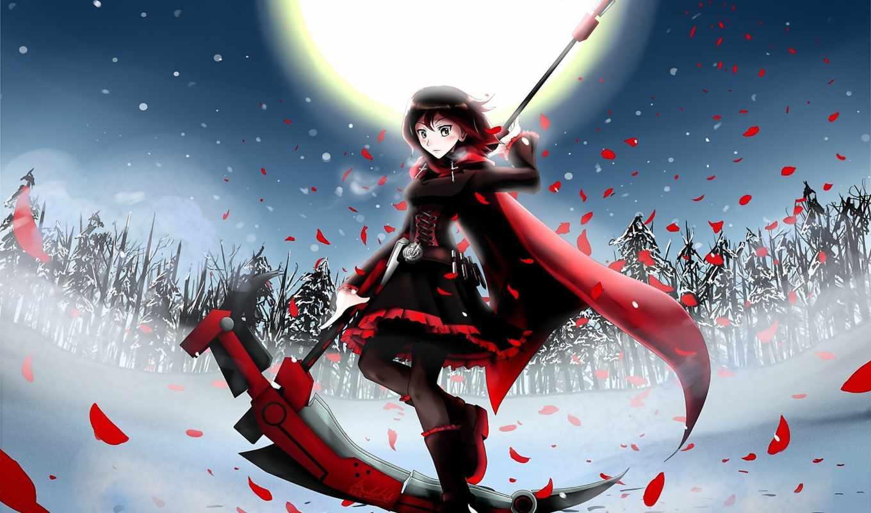 anime, rwby, девушка, ruby, art, ночь,