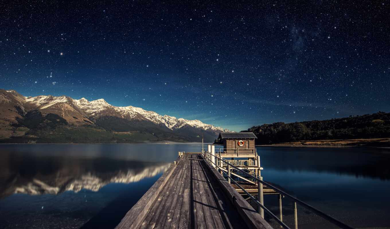 природа, гора, ночь, star, water, облако, свет