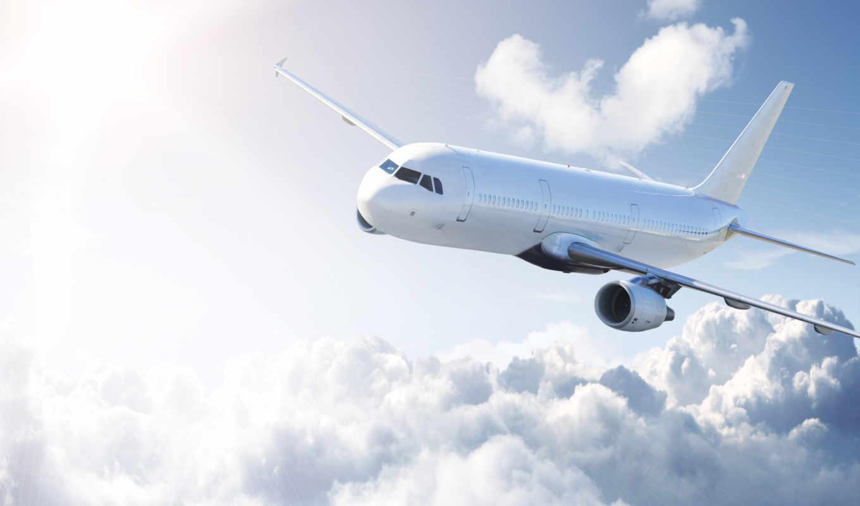 небо, облака, самолёт, airplane, white, высота, полет, aeroplane, солнце, лучи, картинка, картинку,