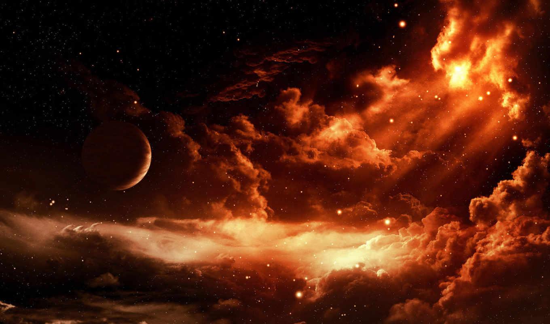 планета, облаках, space, звезды, облака, starry, widescreen, this,