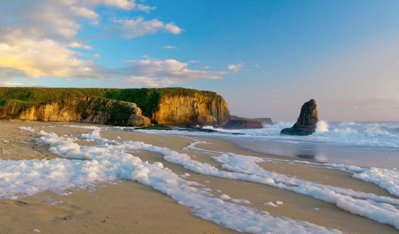 берег, песок, побережье, скала, пена, пляжи, пейзажи, скалы, море,
