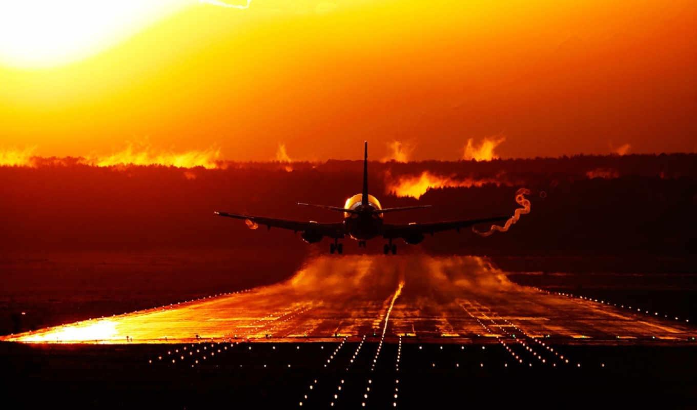 закат, самолёт, военный, полоса, авиация, посадка, boeing, боинг,