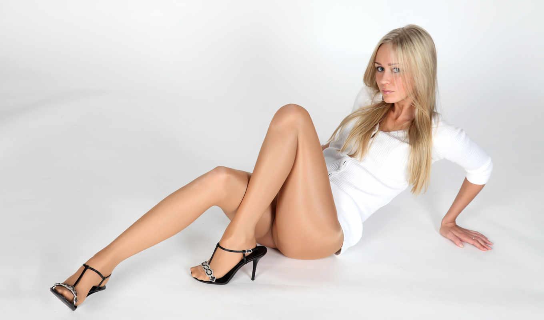 колготки, девушка, nylon, blonde, платье, ножки, колготках, белом,