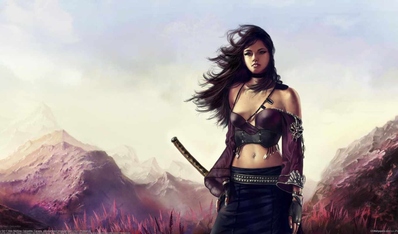 ,aldo martinez calzadilla, ветер, девушка, катана, горы, меч, Арт картинки воин, сакура, меч, самурай, Арт, девушка, катана, vanipo