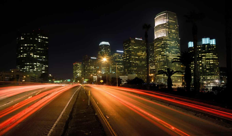 city, night, road, lights, картинка, города,