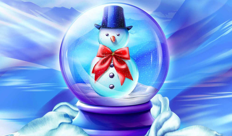 снеговик, новый, god, рождество, zima,