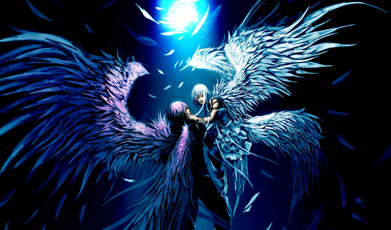 angel, парень, девушка, ангелы, луче, света,