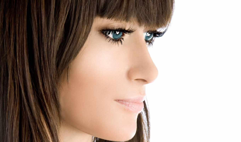 глазами, голубыми, браун, глаза, девушка,