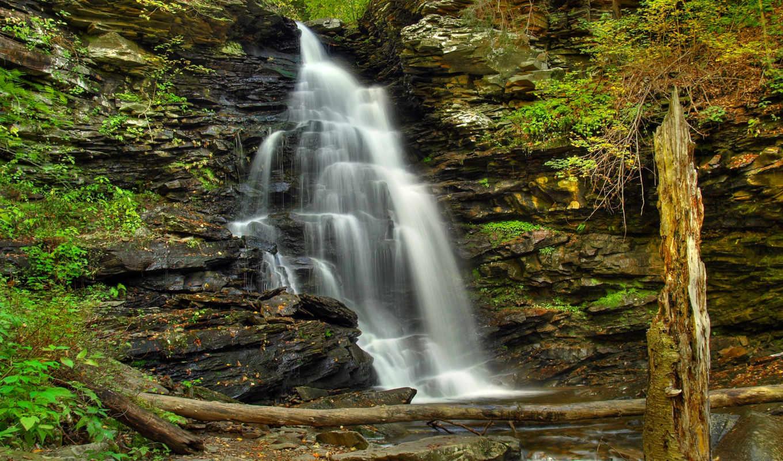 водопад, камни, заставки, лес, stock, package, широкоформатные, дек, нашем, dingmans, фотографий,
