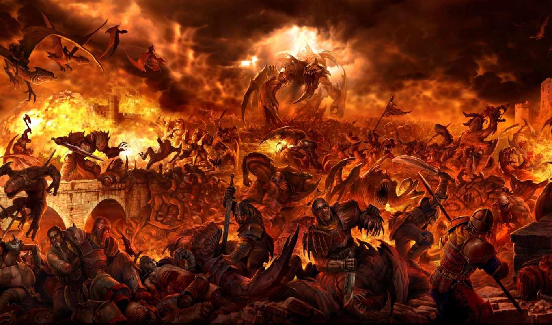 битва, люди, дракон, огонь, monster, castle, демон, фэнтези, людей