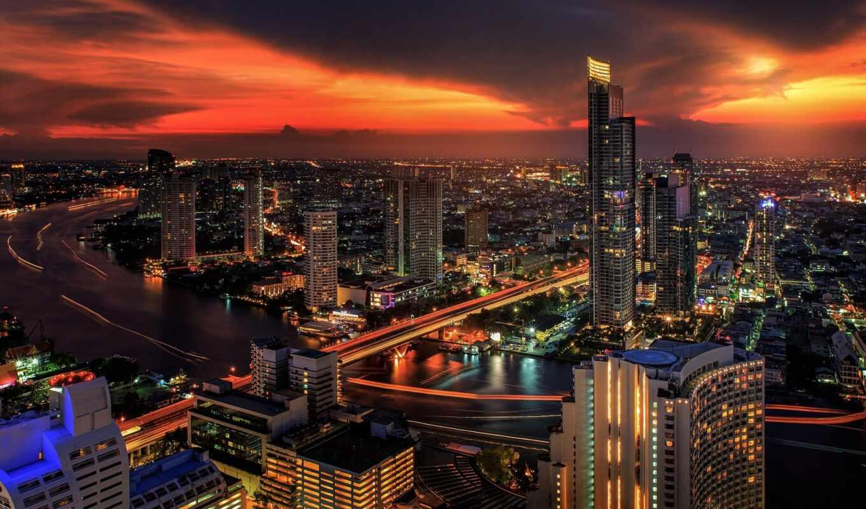 bangkok, таиланд, ночь, город, огни, птица