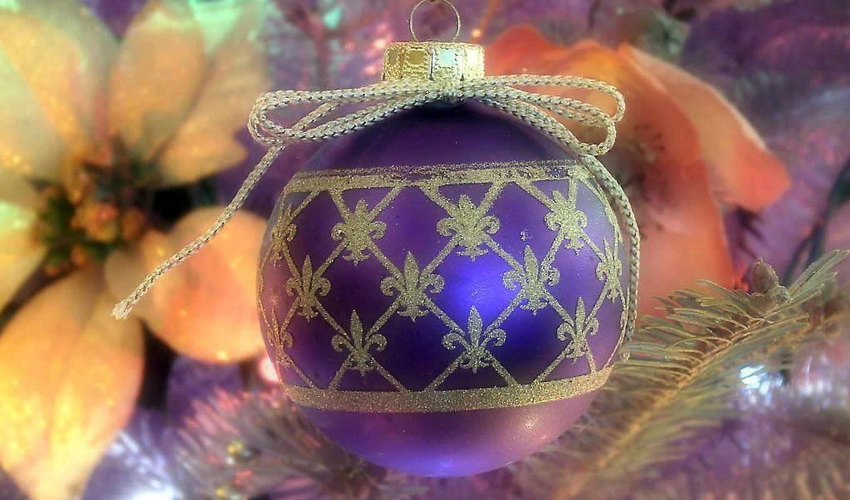 christmas, новогодней, картинку, чтобы, обоей, просмотреть, размере, реальном, её, новогодние, noel, ели, узором, шар, сиреневый,