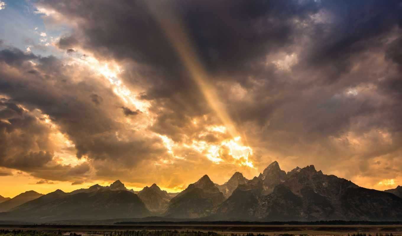 горы, долина, сша, небо, скалистые, вайоминг, лес, река, облака, природа, деревья,