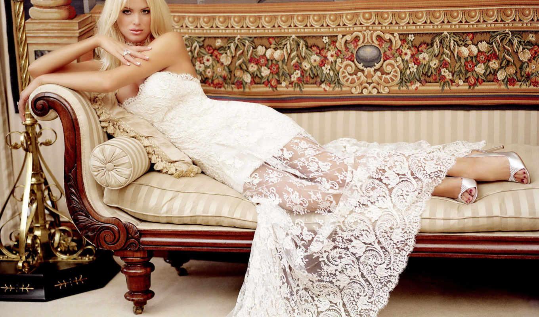 платье, красивые, девушка, диван,
