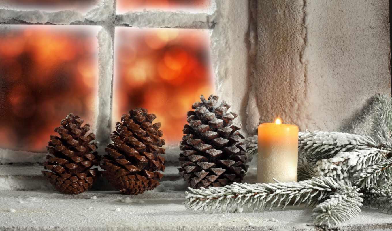 год, new, экран, windows, бесплатные, winter, заставки, свеча,шишки,веточка,