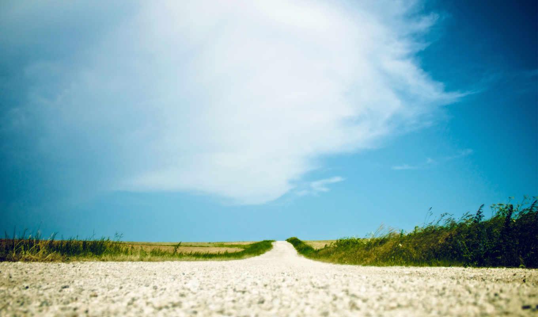 небо, summer, дорога, трава, песок, дек, природа,