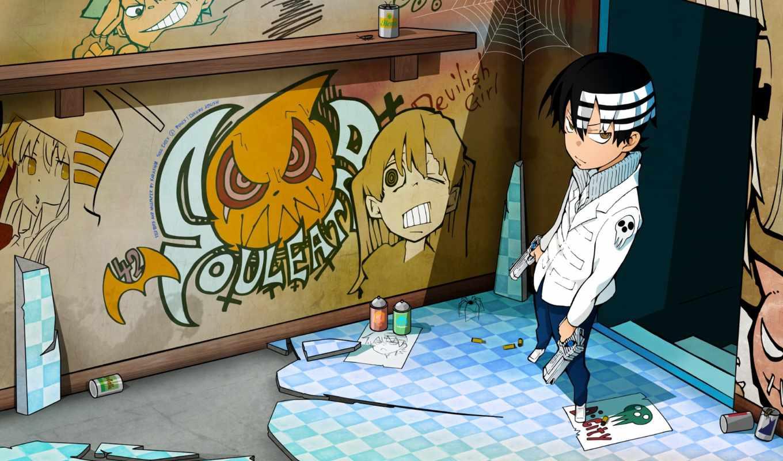 аниме, рисунки, kid, краска, парень, eater, soul, граффити, картинку, death, пацан, злой, мыши, правой, заставки, кнопкой,
