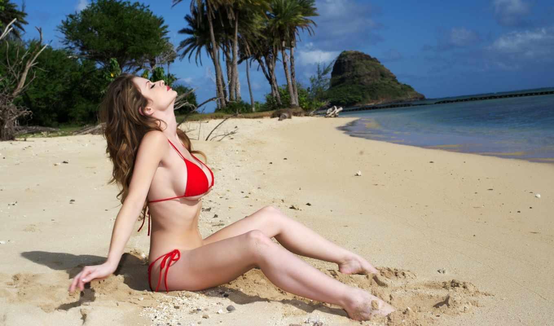 пляж, девушка, грудь, бикини, поза, море, девушки, emily, addison,