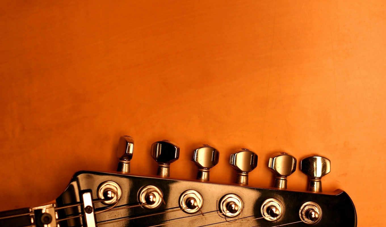 оранжевый, гитара, колки, струны, отблески, color,